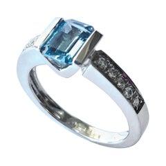 Aquamarine - Diamonds White Gold Ring, Alberti Gioielli, Valenza - Italy