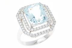 Aquamarine Double Halo Diamond 18 Carat White Gold Dress Ring