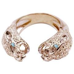 Aquamarine Jaguar Ring Bronze Adjustable J Dauphin