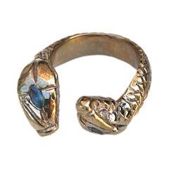 Aquamarine Double Snake Head Ring Cocktail Bronze Adjustable J Dauphin