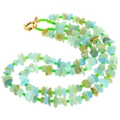 Aquamarin Doppelstrang Halskette