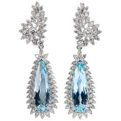 Aquamarine Earrings 8.74 Carat with Diamonds 2.59 Carat 18 Karat Gold