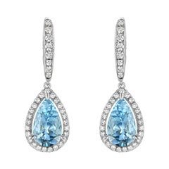 Aquamarine Earrings Pear Shapes 5.23 Carats Total