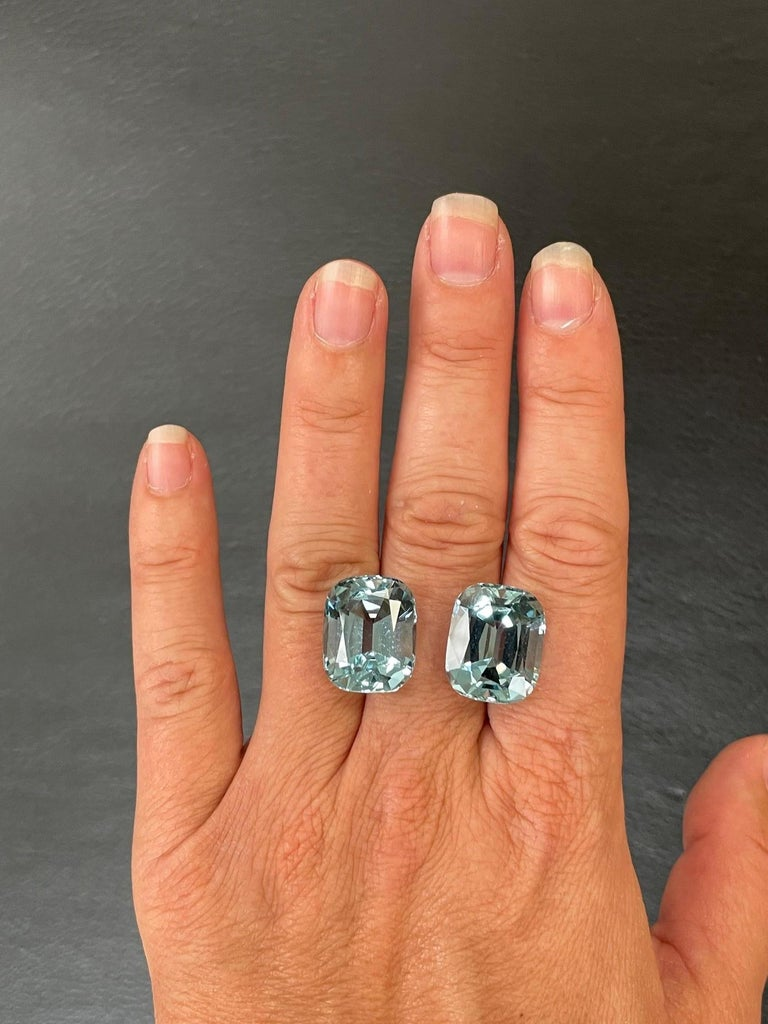 Spectacular Brazilian Aquamarine earring gems, weighing a total of 31.08 carats, offered loose to a fine gemstone lover. Returns are accepted and paid by us within 7 days of delivery. We offer supreme custom jewelry work upon request. Please contact