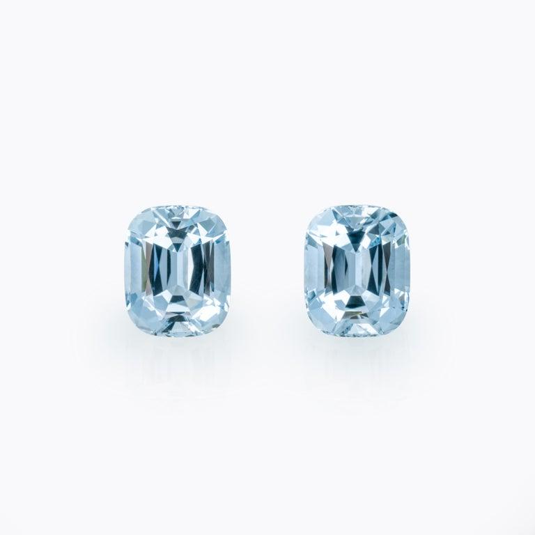 Modern Aquamarine Earrings Gemstone Pair 31.08 Carats Cushion Brazilian Loose Gems For Sale