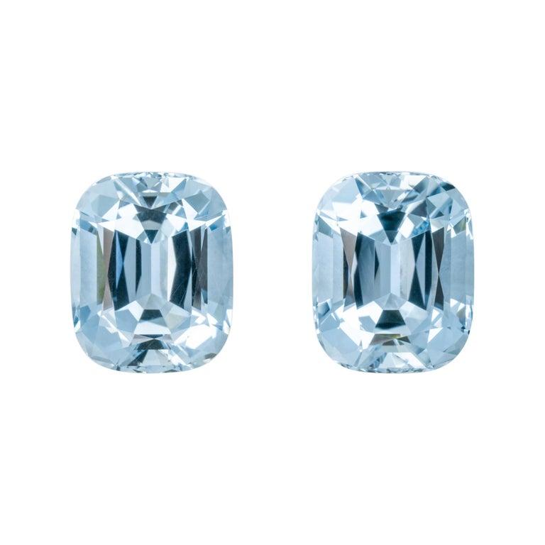 Aquamarine Earrings Gemstone Pair 31.08 Carats Cushion Brazilian Loose Gems For Sale