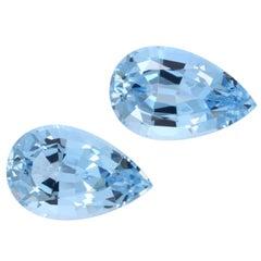 Aquamarine Earrings Gemstone Pair 7.17 Carat Pear Shape Loose Unset Gems