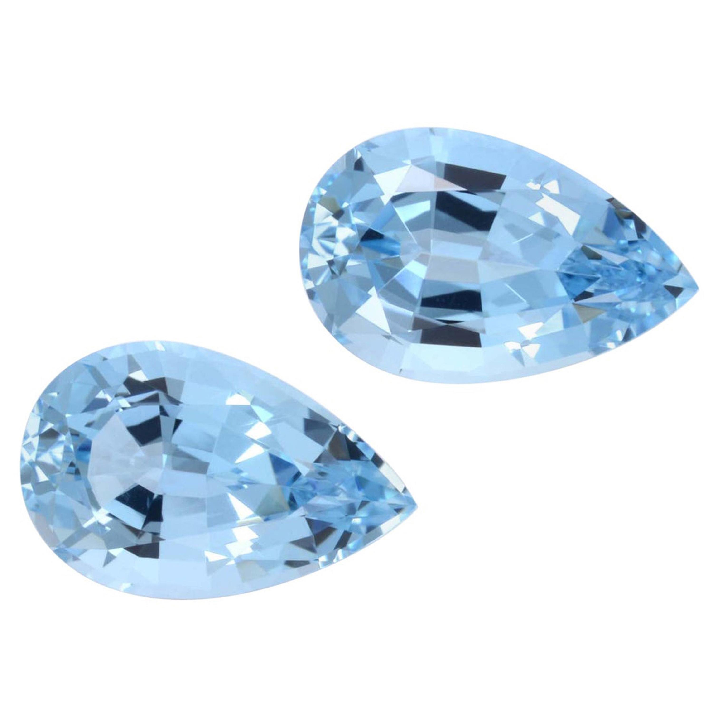 Aquamarine Earrings Gemstone Pair 7.17 Carat Pear Shape Loose Gems