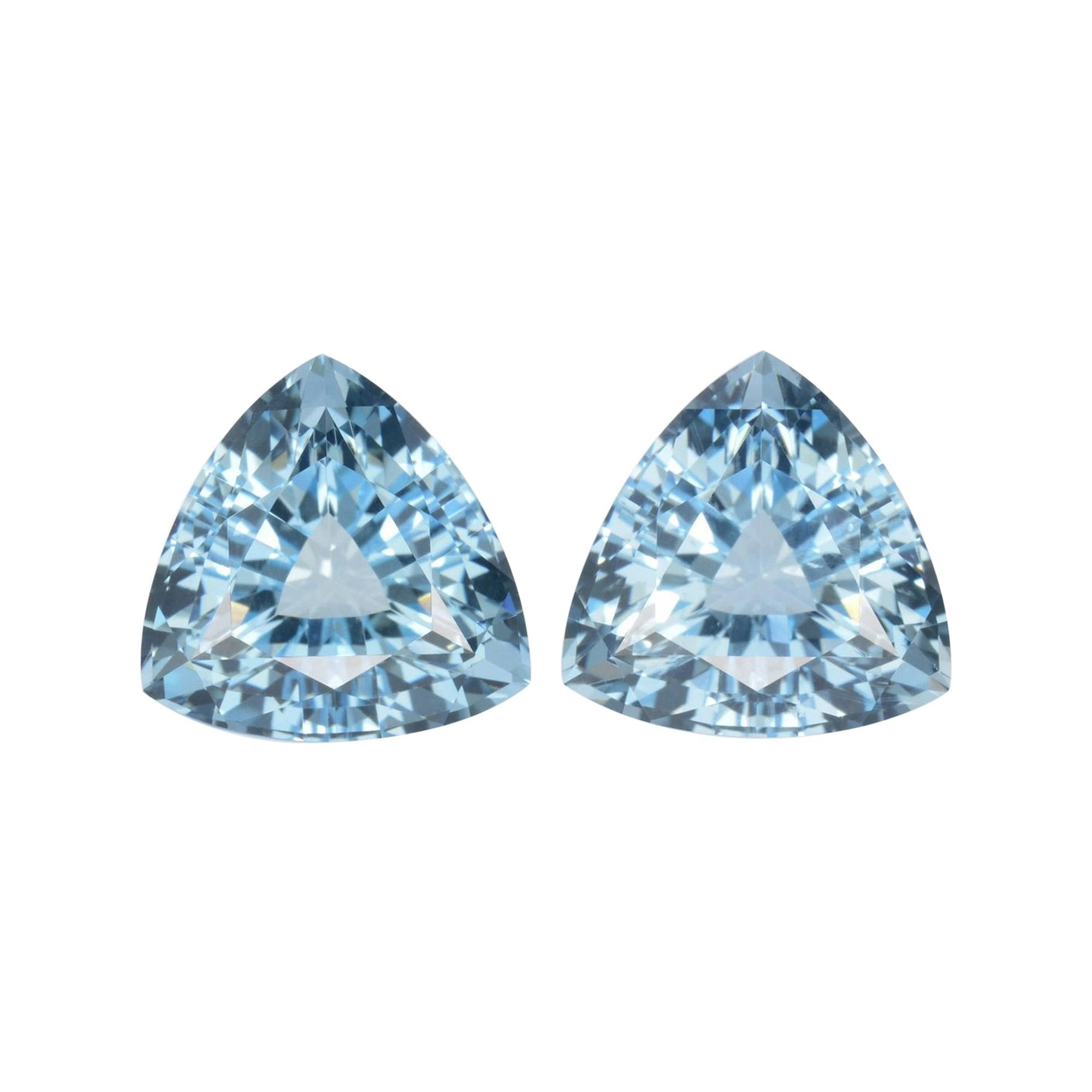Aquamarine Earrings Gemstone Pair 8.59 Carat Trillion Loose Gems