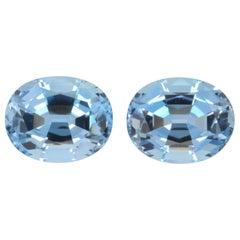 Aquamarine Earrings Pair 4.37 Carat Old Mine