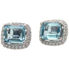 Aquamarine Earrings with a Diamond Surround