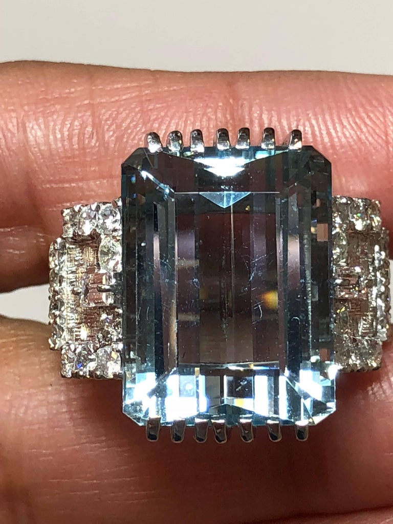 Aquamarine Emerald Cut and Diamond Cocktail Ring in Platinum In New Condition For Sale In Los Angeles, CA