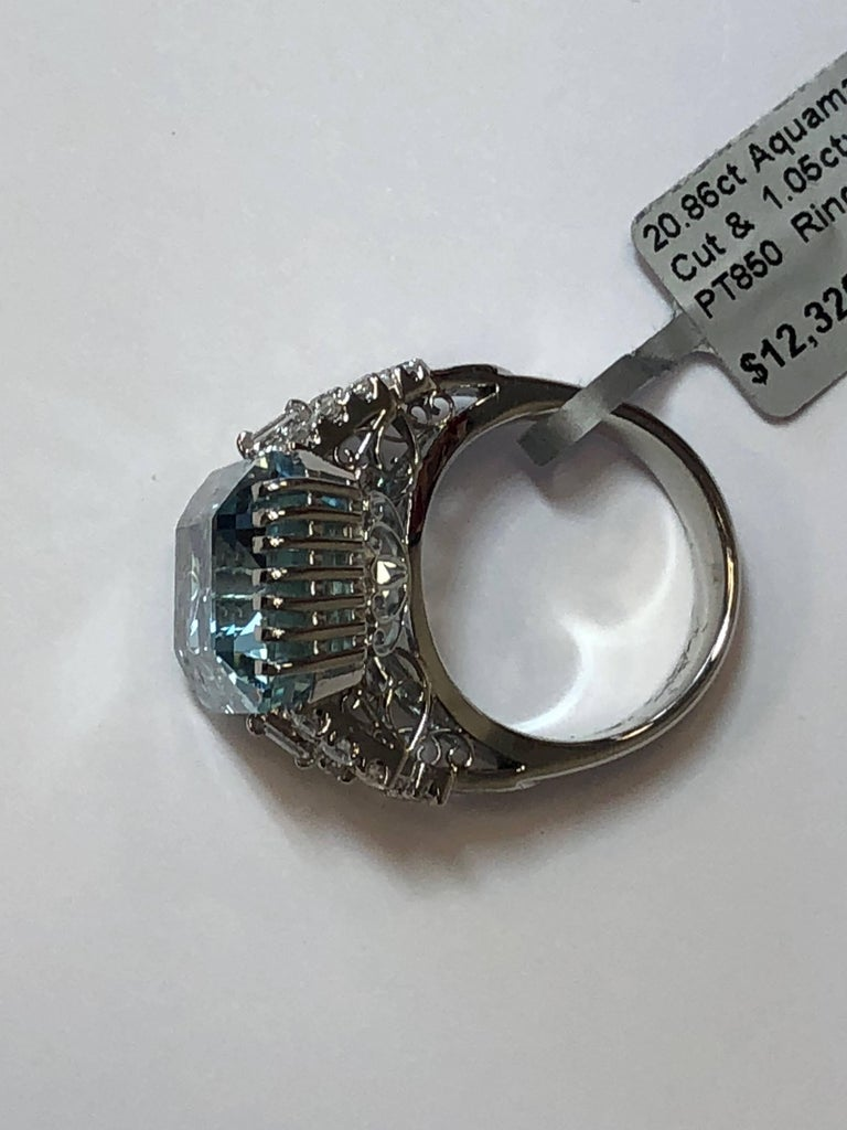 Women's or Men's Aquamarine Emerald Cut and Diamond Cocktail Ring in Platinum For Sale