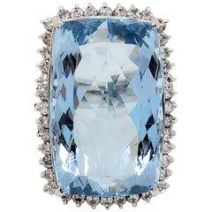 Aquamarine Emerald Cut and White Diamond Cocktail Ring in Platinum