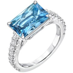 Aquamarine Cocktail Ring Emerald Cut Diamond Platinum Modern Ring