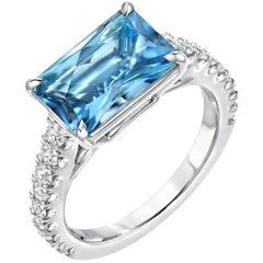 Aquamarine Emerald Cut Diamond Platinum Cocktail Ring