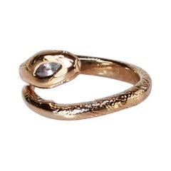 Aquamarine Emerald Snake Ring Victorian Style Bronze J Dauphin