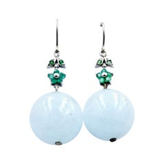 Aquamarine, Emerald & Tsavorite Garnet Drop Ball Earrings