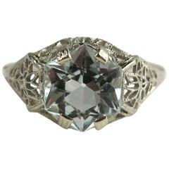 Aquamarine Engagement Ring 14 Karat Gold Hexagon Filigree Art Deco