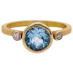 Aquamarine Engagement Ring, Yellow Gold Three-Stone Ring with Aqua Wedding Ring