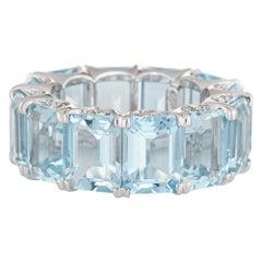 Aquamarine Eternity Ring 18 Karat Estate Diamond Crescents Gemstone Band
