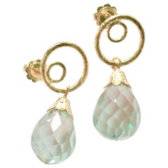 Aquamarine Faced Drop 18 Karat Gold Earring