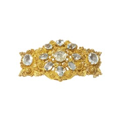 Aquamarine Filigree 14 Karat Gold Brooch