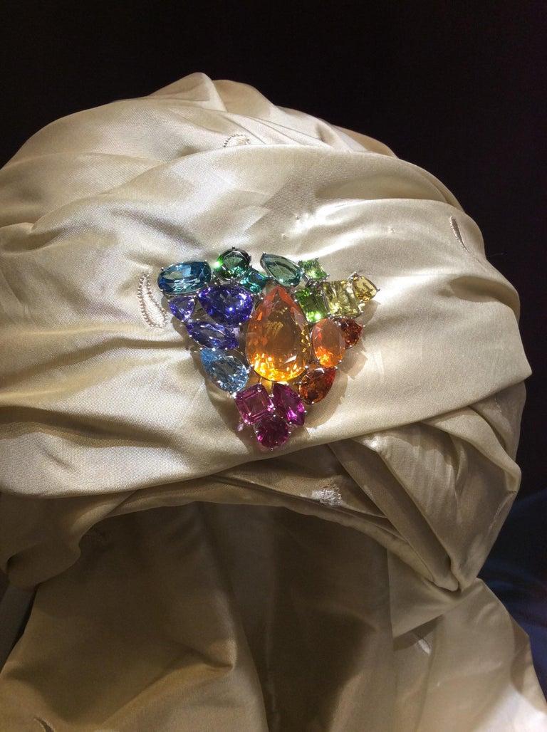 Aquamarine Fire Opal Tourmaline Tanzanite Multi Gemstone Choker and Bracelet Set For Sale 5