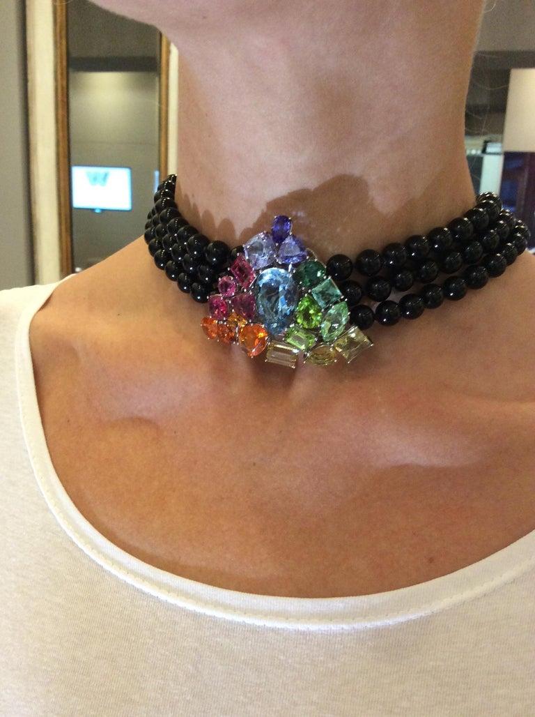 Aquamarine Fire Opal Tourmaline Tanzanite Multi Gemstone Choker and Bracelet Set For Sale 7