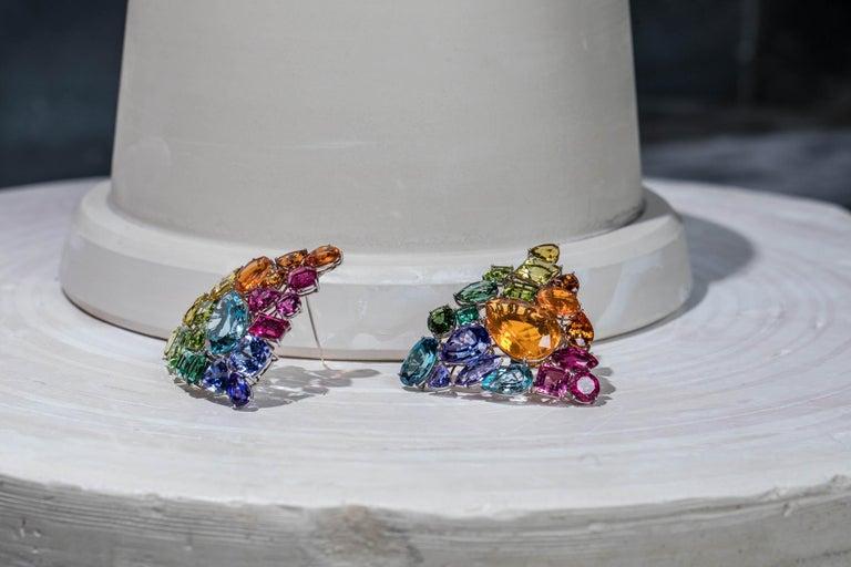 Aquamarine Fire Opal Tourmaline Tanzanite Multi Gemstone Choker and Bracelet Set For Sale 8