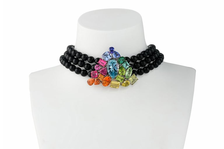 Aquamarine Fire Opal Tourmaline Tanzanite Multi Gemstone Choker and Bracelet Set In New Condition For Sale In Berlin, DE