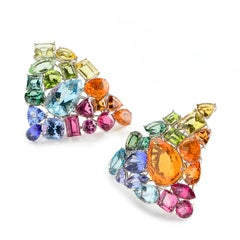 Aquamarine Fire Opal Tourmaline Tanzanite Multi Gemstone Choker and Bracelet Set