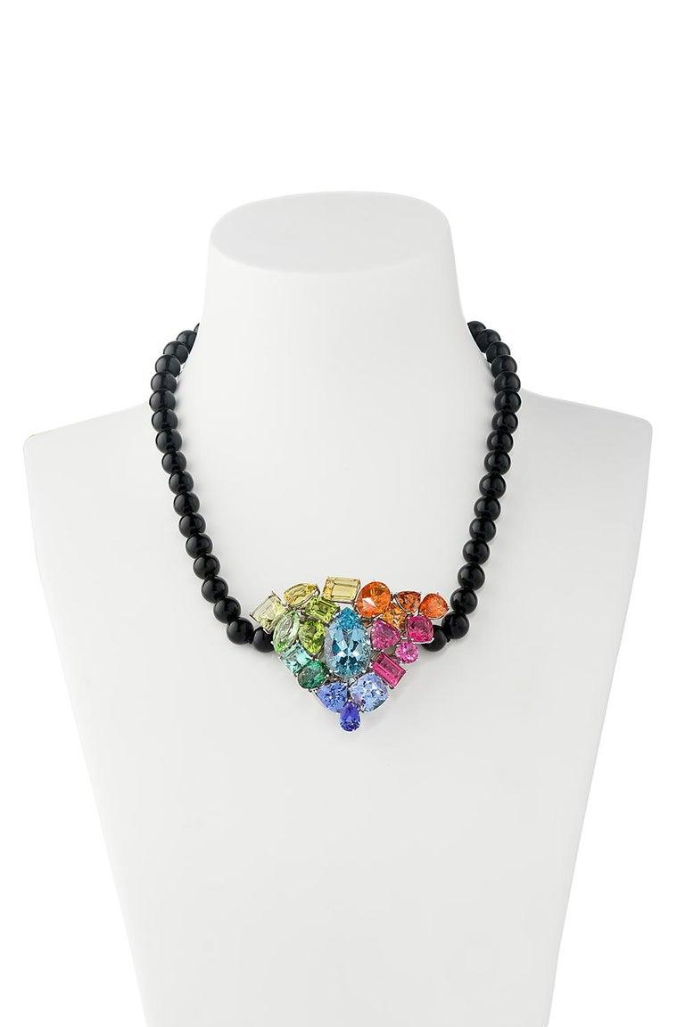 Aquamarine Fire Opal Tourmaline Tanzanite Multi Gemstone Choker and Bracelet Set For Sale 3