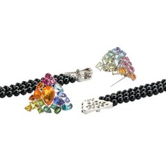 Aquamarine Fire Opal Tourmaline Tanzanite Multi Gemstone Choker and Bracelet Set
