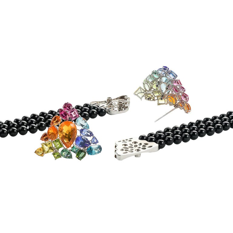 Aquamarine Fire Opal Tourmaline Tanzanite Multi Gemstone Choker and Bracelet Set For Sale