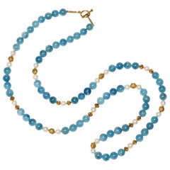 Aquamarine, Freshwater Pearl and Gold Necklace