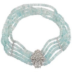 Aquamarine White Gold and Diamond Choker Necklace
