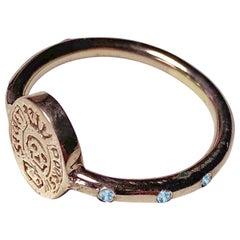 Crest Ring Signet Gold Skull Memento Mori Style Aquamarine J Dauphin