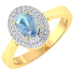 Aquamarine Gold Ring, 14 Karat Gold Aquamarine and Diamond Ring, 0.76 Carat