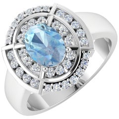 Aquamarine Gold Ring, 14 Karat Gold Aquamarine and Diamond Ring, 1.52 Carat