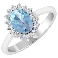 Aquamarine Gold Ring, 14 Karat Gold Aquamarine and Diamond Ring, 1.62 Carat