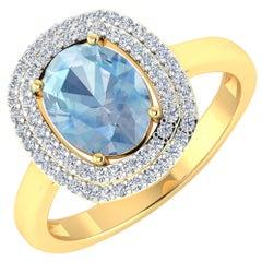 Aquamarine Gold Ring, 14 Karat Gold Aquamarine and Diamond Ring, 1.68 Carat