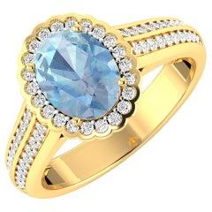 Aquamarine Gold Ring, 14 Karat Gold Aquamarine and Diamond Ring, 1.82 Carat
