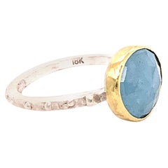 Aquamarine Gold Ring with Silver
