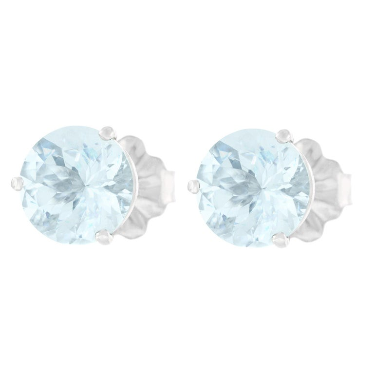 Aquamarine Gold Set Earrings In Excellent Condition For Sale In Litchfield, CT
