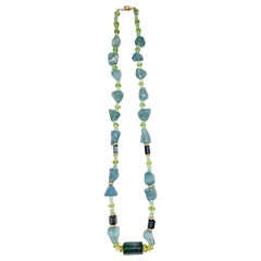 Aquamarine, Indicolite Tourmaline and Peridot Necklace with 14 Karat Gold