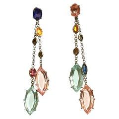Aquamarine Kunzite Sapphire Diamond on White Gold Ear Pendants