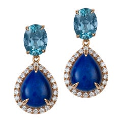 Aquamarine Lapis Diamond Gold Earrings