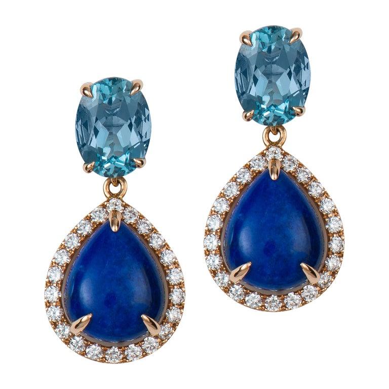 Aquamarine Lapis Diamond Gold Earrings For Sale