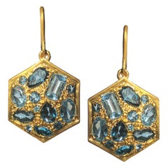 Aquamarine London Blue Topaz Gold Earrings by Lauren Harper